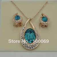New Arrival 18K Gold Plated Austria Crystal Costume Jewelry Set Pendant Necklace & Stud earring Free Shipping