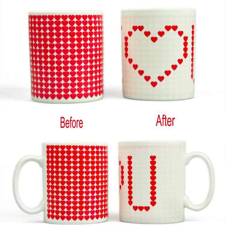 I Love U Magic Color Changing Mug Novelty Gift Couple Coffee Milk Cup #7146(China (Mainland))