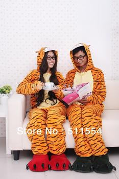 Free Shipping One Piece Winter Jumping Tigger sleepwear for women/men animal pajamas winter fleece cosplay costume