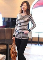 Min.order $15(mix order)Free shipping hot sale 2012 women lady Fashion stripes slim T-shirt leisure round neck Tee s477