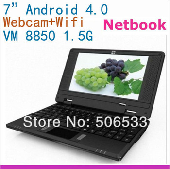 """NEWEST 7"""" VIA8850 Android 4.0 Wifi mini Netbook Laptop computer 512MB 4GB 1.5GHz+Webcam camera in Original box"""