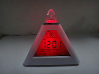 Free shipping 7 LED Color Pyramid Digital LCD Alarm Clock Thermometer  #nk032