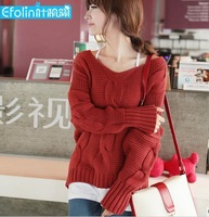 Fashion Vintage V-Neck Thicken Sweater Women's Knitted Pullovers Casual Wear Plus Size SW-073