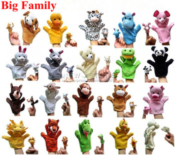 FREE Shipping 20 kinds of Animals Plush Toy,Finger Puppets,Talking Props With Big and Small Size Combination By New Store GT-62