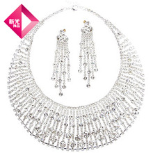 Free Shipping NEOGLORY accessories sparkling diamond bridal necklace set marriage accessories female wedding supplies