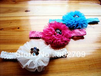 Cute Baby girl shabby flower headband 9cm mesh flowers 10pcs/lot, 2013 new arrival