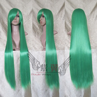 Green 100cm straight long synthetic cosplay costume wig.Free shipping