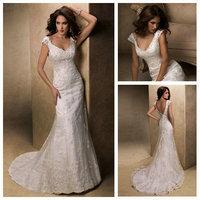 Free  ShippingCap Sleeve Sheath Backless Ivory Popular Design 2013 Crystal Bead Lace Wedding Dress