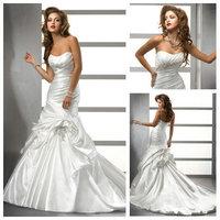 Free  ShippingWhite Taffeta Free Shipping New Design 2013 Cheap Bridal Gowns Victorian Wedding Dresses