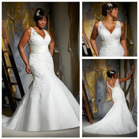 Free  ShippingSleeveless V-neckline Mermaid Ivory 2013 Fat Women Plus Size Wedding Dress