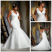Free  ShippingSleeveless V-neckline Mermaid Ivory 2013 Fat Women Plus Size Wedding Dress