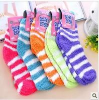 2012 new winter warm floor sox towel sox striped wool cloth with soft nap of socks