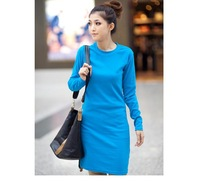 Fashion round neck wool the sanding dress bottoming shirt dress free shipping 2943