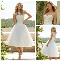 Free shipping Tea Length Ivory Organza Lace Sleeveless Bolero Corset 2013 Short Wedding Dresses