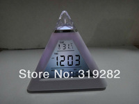 Glowing 7 Color LED Change Pyramid Digital Alarm Clock free shipping   #nk036