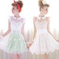 2013 Summer Lace Decorated Slim Peter Pan Collar Butterfly Sleeve Women Shirt Female Blouses