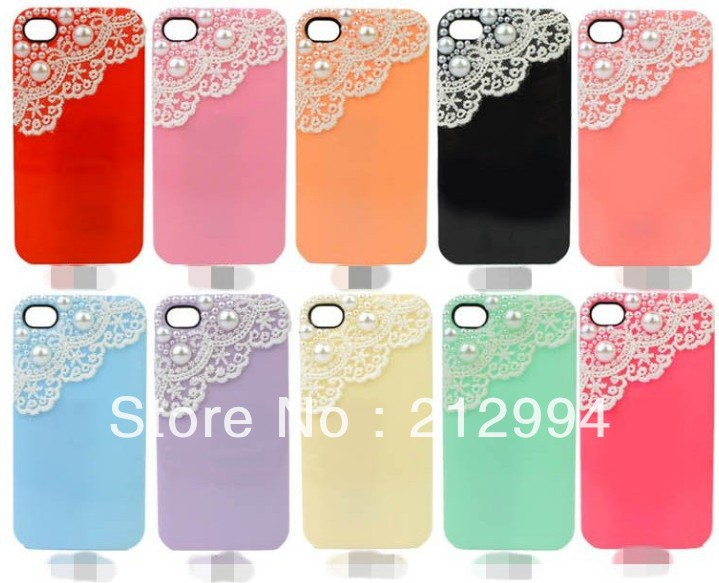 Free shipping hot selling products Hand Art Sex Lace Bling Pearl Sweet ice cream Case For iPhone 5 apple iphone 5 accessories(China (Mainland))