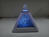 Free shipping 7 LED Color Pyramid Digital LCD Alarm Clock Thermometer   #nk041