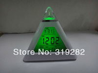 LED Digital Clock 7 Colors Glowing Changed Triangle Pyramid Alarm Clock  Small night light with the calendar The thermometer