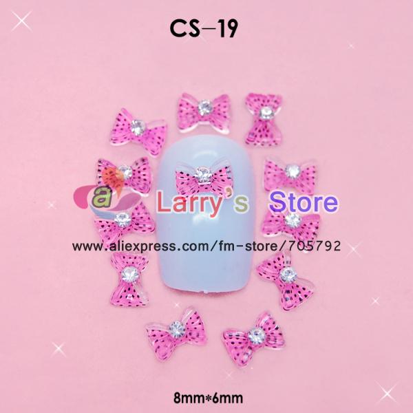 Freeship Polka Dot Leopard Bow with Diamond acrylic nails accessories 3D nail art decoration 8*6mm 100 Pcs/lot Wholesale CS-19(China (Mainland))