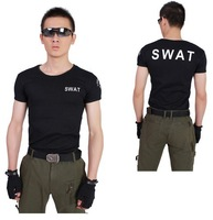 Outdoor SWAT short-sleeved round neck stretch cotton men's casual tight T-shirt black/green free ship