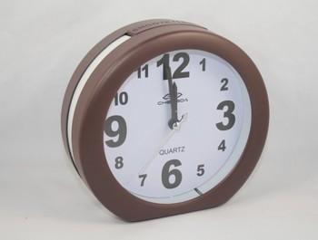 High Quality Coffee Color Music with Light Quartz Alarm Clock / Desk Clock,(size:5.5 x 5.1) -8822