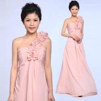 2013 one shoulder chiffon bride married toast formal dress bridesmaid dress evening dress oblique long design