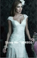 Hot Sale 2014 Dress A-Line Sweetheart Straps Chapel Train Sexy Backless Lace Western Real Wedding Dress YZ010504