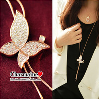 free shipping 2013 fashion unique gold plated beautiful butterfly 90cm long necklaces pendants with rhinestone adorned