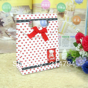 12pcs/pack Tiny Heart Fashion Paper Gift Bag Candy Packaging Vest Handle 12.5*6*16.5cm Model 209-3 For Wedding Free Shipping(China (Mainland))
