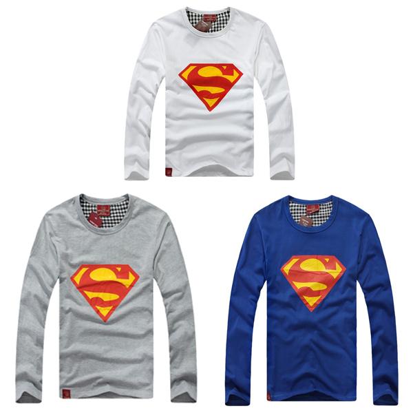 New Fashion Superman Pattern White O Neck Man Long Sleeve Crew Neck T