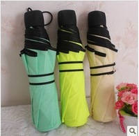 Free shipping! Ok three fold umbrella sun protection umbrella lovers solid color umbrella folding