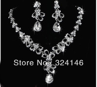 Free shipping top grade crystal bridal jewelry silver necklace+earrings cheap jewelry nice wedding accessory