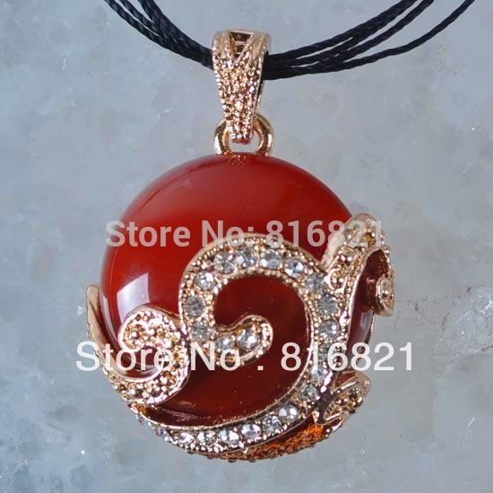 Yeni kırmızı akik taş yapay elmas kolye çekicilik boncuk moda