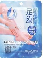 7pairs=1bag/lot free shipping Rolanjona Crystal foot mask Exfoliating scrub mask Foot mask sox Foot care sticker health care