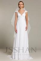 12W043 Off-Shoulder Empire Applique Chiffon Bridal Brush Train Elegant Gorgeous Luxury Unique Wedding Dress Wedding Gown