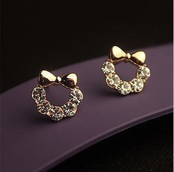 2013 Fashion rosette zircon earrings (25% discount) Min.order $15(Mix order)(China (Mainland))