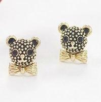 E0306019 (Multi-color mixed batch) girls cute bear stud earrings black white cheap 48pair/lot free shipping
