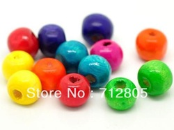 Wholesale 500pcs/lot Mixed Colors Wood Round Spacer Beads 8x7mm Fashion Wooden Jewelry Findings Free Shipping(China (Mainland))