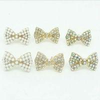 E226035 cute girls stud earrings bow design earrings 24pair/lot free shipping