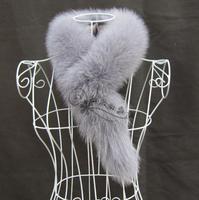Fur  women's fox fur scarf muffler scarf fur collar sub thermal scarf grey