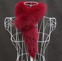 Fur  women's fox fur scarf muffler scarf fur collar sub thermal scarf Wine red
