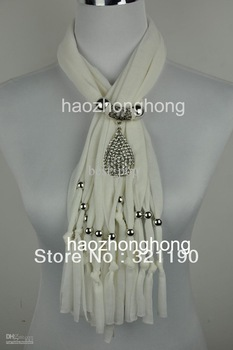 Diamond drop pendant scarves scarf jewelry with beads charm necklace jewellry DHL&EMS Free SJ-012