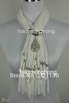 Diamond drop pendant scarves scarf jewelry with beads charm necklace jewellry DHL&EMS Free SJ-012
