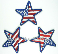 Hot ! Free shipping STAR USA iron on applique or Sew on fashion embroidery applique patch