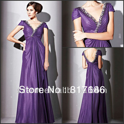 2013 New Arrival Pleats Cap Sleeve V Neck Backless Sequins Chiffon Arabic Evening Gowns Dresses(China (Mainland))