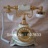 The pearl white the European phone pastoral telephone antique telephone carved phone