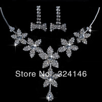 Ювелирный набор nice high quality crystal bridal jewelry sets hotsale silver necklace+earrings jewelry wedding accessory