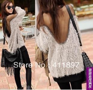 Women autumn winter Fashion Sexy cool Raglan Sleeve Transparent Mesh Fur loose Tops T shirts Clubwear Free shipping-32