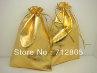 Wholesale 100pcs/lot 13x18cm Gold Satin Cloth Bag Drawstring Bag Jewelery Gift Packaging Bag Free Shipping